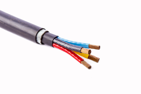 four core armored cooper cable on isolated background