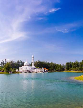 terengganu: floating mosque at kuala ibai terengganu malaysia