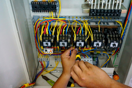power distribution: contactor wiring work in motor control panel