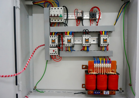 three phase: auto transformer starter in the metal box Stock Photo