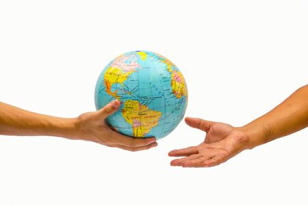 give: right hand holding globe and give to other hand