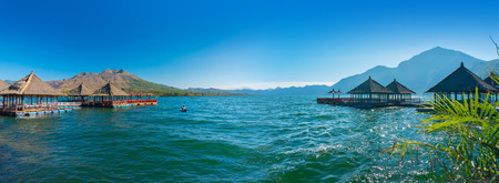 vacation home: panoramic view floating restaurant and blue sky Stock Photo