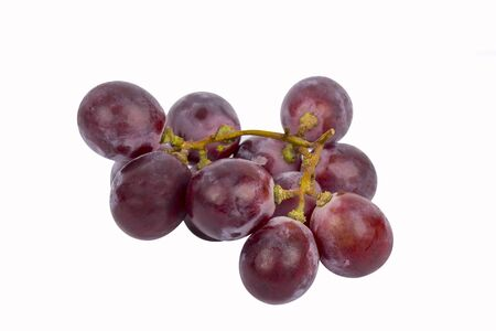 purple red grapes: red grape isolated white background