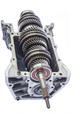 gearbox: car gearbox inner on isolated background Stock Photo