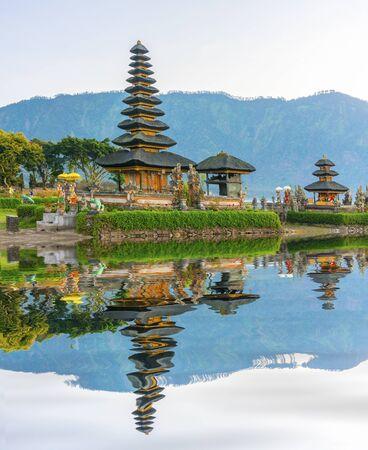 ulun: temple ulun danu bali, indonesia with water reflection
