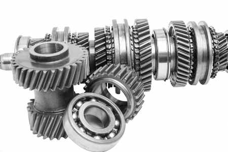 gearbox: part of gearbox on black and white with isolated background