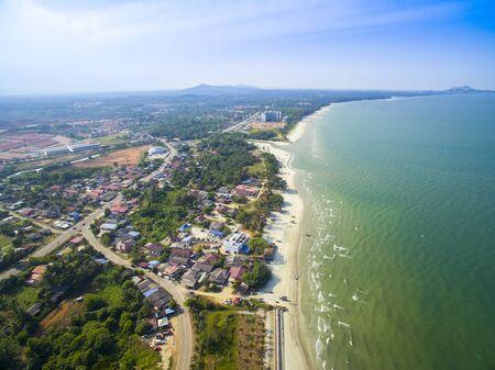 pahang: Aerial view of Balok beach and traditional village, Kuantan Pahang