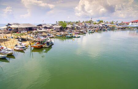terengganu: aerial view traditional fishing boat park at terengganu malaysia