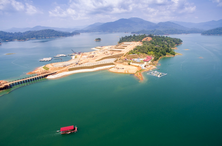 contruction: commercial contruction project on small island in kenyir lake terengganu malaysia Stock Photo