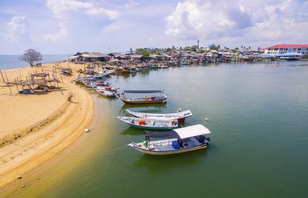 fisherman boat: traditional fishing boat park at paka terengganu malaysia
