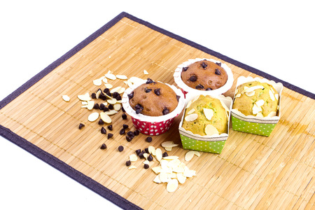 fancy box: muffin cake breakfast with chocolate and almond slice Stock Photo