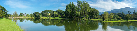 travel background: Taiping Perak Lake Garden in panoramic view