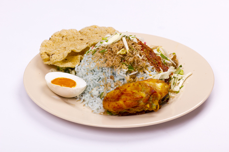 nasi kerabu malaysian food on isolated background