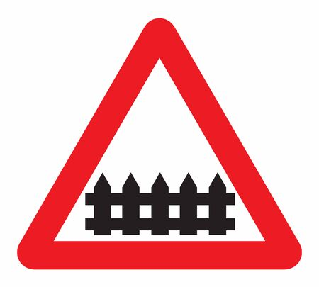 Railway crossing guarded road sign