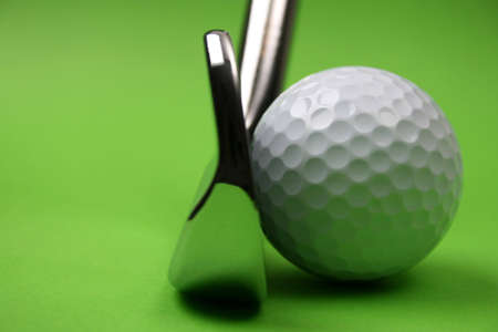 Golf Club and ball on a green background Stock Photo - 2371296
