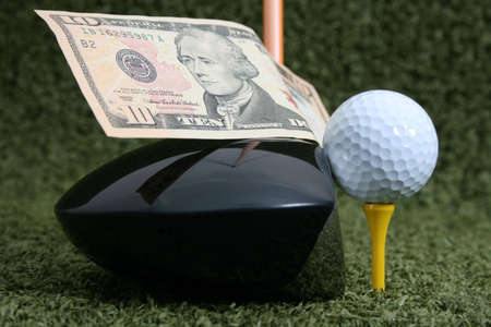 Golf club and ball with a Ten Dollar Bill bet photo