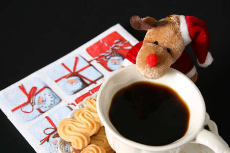 christmas morning: Christmas morning coffee with chocolate shortcake biscuits