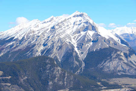 banff national park: High mountain in Banff National park against blue skies