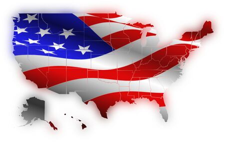 civic: Flag AMERICAN within the map of USA and shadows accompanying flag colors