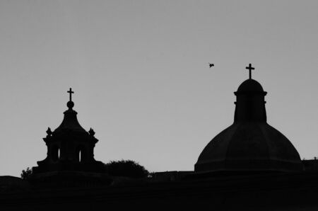 church steeple: Church steeple silhouette with dove