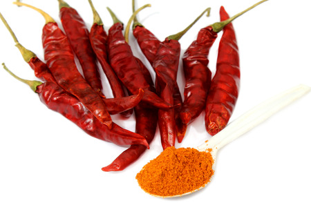 capsaicin: Red chilli pepper over white background