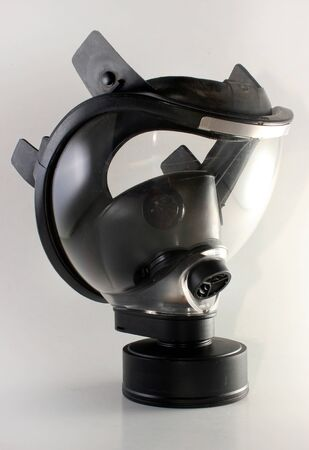 Side view of a black gas mask Stock Photo
