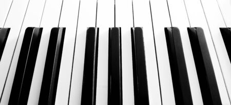 jazz time: Top view close up shot of piano keyboard Stock Photo