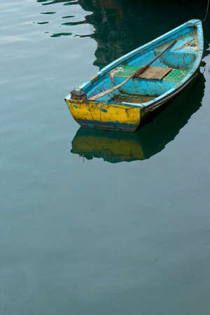 A boat floating in the sea