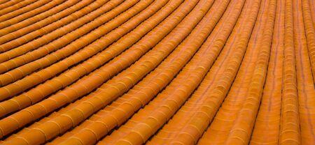 Orange Temple Roof Stock Photo