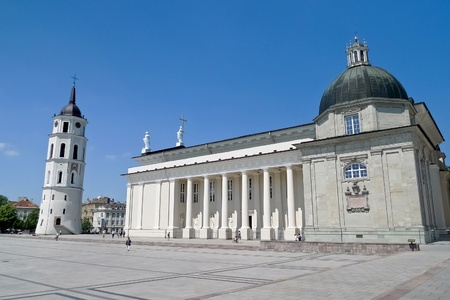 Vilnius Cathedral and belfry tower in the Cathedral square, central Vilnius, the capital of Lithuania Stock Photo
