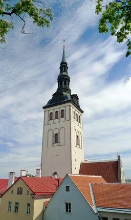 Belfry tower in Old Tallinn in summer Editorial