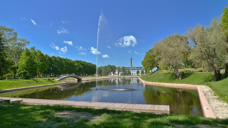 Beautiful small lake in the Parnu which is a city in southwestern Estonia. Stock Photo
