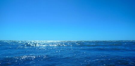 Beautiful blue sky and deep blue ocean