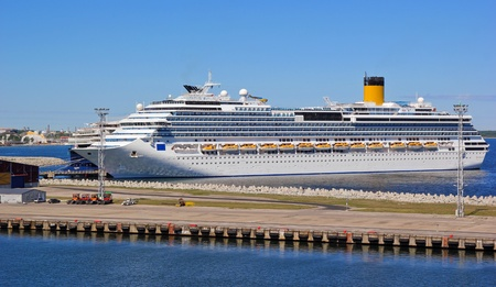 Cruise is approaching the Tallinn Terminal Port Editorial