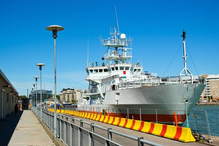 ship parking at the helsinki harbour in finland