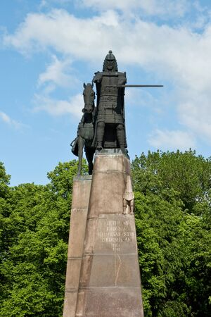 Monument of grand duke Gediminas in Cathedral Square in Vilnius, Lithuania.