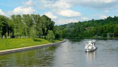 Cruising through Vilnius River in the Lithuania