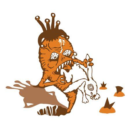 Carrot takes revenge on a white rabbit Stock Vector - 10743970