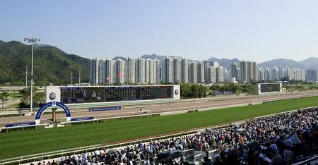 caballos corriendo: HONG KONG - 18 de marzo de Mercedes-Benz Hong Kong Derby 2012 se lleva a cabo en el hipódromo de Shatin el 18 de marzo de 2012, Hong Kong, China es una de las carreras más prestigiosas del calendario de carreras nacionales Editorial