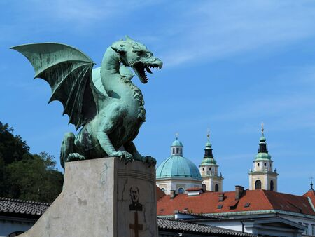 Green Dragon on the Dragon Bridge in capital city Ljubljana, Slovenia  The Dragon Bridge was erected in 1901