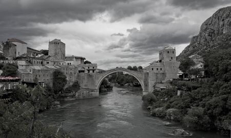bosnia: Mostar Bridge, Mostar, Bosnia and Herzegovina in black and white color Stock Photo