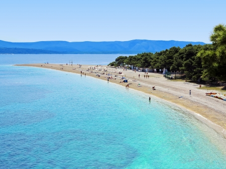 Zlatni Rat  Golden Cape  is a popular beach in the Town Bol which is on the south of the island of Brac in the Split-Dalmatia County of Croatia