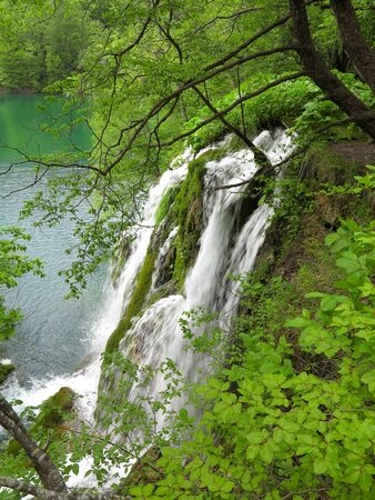 Waterfall in Plitvice National Park, Croatia Stock Photo