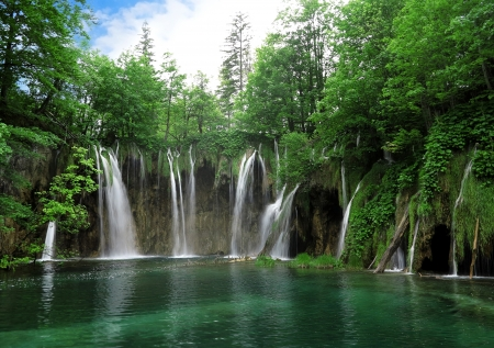 Waterfall in Plitvice National Park, Croatia Stock Photo