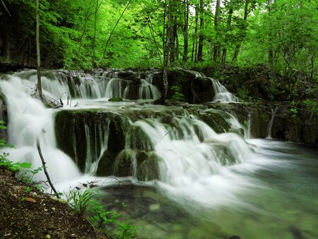 Waterfall in Plitvice National Park, Croatia photo
