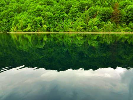 Beautiful Lake scene in Plitvice National Park, Croatia Stock Photo
