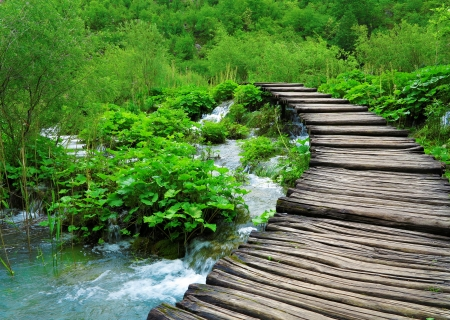 pathways: Wooden path and waterfall in Croatia