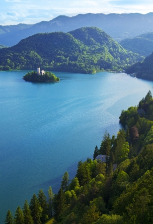 Top view of Bled Lake in Slovenia Stock Photo