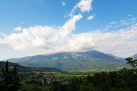 karavanke: Town Bled and Julian Alps in Slovenia Stock Photo