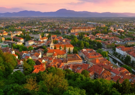 Sunset scene of beautiful Capital City Ljubljana in Slovenia Stock Photo